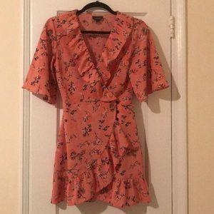 Topshop pink floral flutter sleeve wrap dress